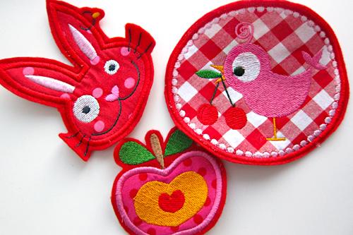 Stickereien auf Filz, rosarot, Stickdateien, farbenmix